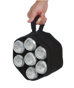 6 Pack Jack Black - Unique Roll Up Neoprene 7 Bottle or Can Carrier With Detachable Koozies