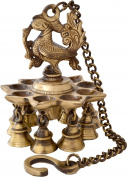 AONE INDIA Brass Hanging Peacock Diya With Bells + Cash Envelope