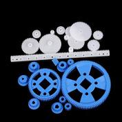 23 Pcs Plastic RC Parts Lot, Plastic Gears, Pulley, Belt, Rack Gear Kit Gearbox Motor Gear Set For DIY Car Robot ...