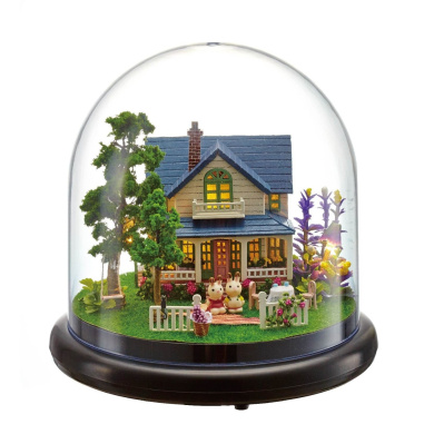 DIY Wooden Miniature Dollhouse Kit - Glass Ball House with Furniture LED Light House Music house Wooden toys