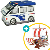 2-in-1 Police Car Toy and Storage Box with Bonus 3D Puzzle of Adventure Ship. Foldable and Easy to Set Up with Study Walls