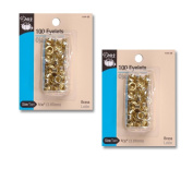 Dritz Brass Eyelets - 0.4cm - 2 Packages of 100 Eyelets Each