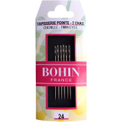 Bohin 98409 Double Eye Chenille Hand Needles (6 Pack), Size 24, Silver