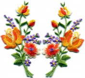 Orange roses pair flowers floral bouquet boho embroidered appliques iron-ons patches new