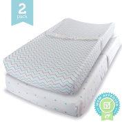 Ziggy Baby Jersey Cotton Changing Pad Cover Set, Blue/Grey, 2 Pack
