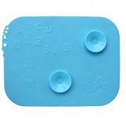 Chris-Wang 1Pc Fun Silicone Meal Placemat/Suction Cup Place Mat/Tableware Sucker/Anti-Slip Bowl Mat/Dish Pad/Cup Sucker for Baby Toddler Kids Children Self-Feeding, Blue