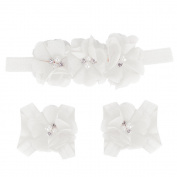 Fullkang Cute Baby Foot Flower Barefoot Sandals + Headband Set