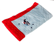 Aeroplane and Stars Blue Embroidered Minky Dot Blanket