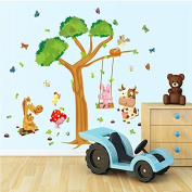 Wall Decals Forest Tree Playground - Easy Peel & Stick Wall Art Decor - Baby/ Kids Nursery Room Decorative Stickers