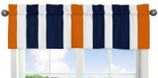 Sweet Jojo Designs Navy Blue, Orange and White Window Treatment Valance for Stripes Bedding Collection