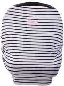 Elm Tree Baby Car Seat Cover, Nursing Cover and Infant Car Seat Canopy with Carrying Bag. Soft Stretchy Material - High Chair & Grocery Cart Cover. Small Stripes