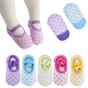 FlyingP 5Pairs Baby Girl's Socks Anti Slip Skid Foot Socks for 8-36 Months Infants Toddlers No-Show Crew Boat Socks Footsocks Sneakers