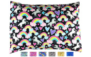 TODDLER PILLOWCASE - Fits all 33cm x 46cm and 33cm x 48cm pillows - Fun Designs that Kids Love - High Quality Envelope Style - Hand Crafted in OHIO - Unicorns & Rainbows)