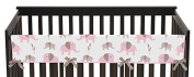 Sweet Jojo Designs Pink Mod Elephant Long Front Rail Guard Baby Teething Cover Crib Protector Wrap