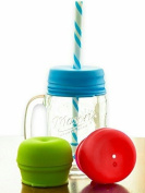 O-Sip! Silicone Straw Lids (Pack of 3), Fits Virtually any Cup or Glass Including Mason Jars, Makes Drinks Spillproof, Reusable, Durable