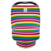 Canopway Style 3-in-1 Multi-use Stretchy Baby Car Seat Canopy, Shopping Cart Cover, Nursing Cover, Rainbow colour