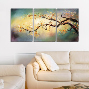 "Modern Hand-Painted ""Yellow Plum Flower"" 3-Piece Gallery-Wrapped Flower Oil Painting On Canvas"