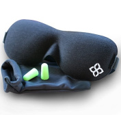 Black Sleep Mask by Bedtime Bliss® - Contoured & Comfortable With Moldex® Ear Plug Set. Includes Carry Pouch for Eye Mask and Ear Plugs - Great for Travel, Shift Work & Meditation