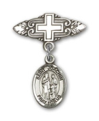 ReligiousObsession's Sterling Silver Baby Badge with St. Joachim Charm and Badge Pin with Cross
