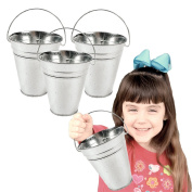 Toy Cubby Galvanised Large Metal Buckets - 6 Pieces