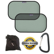 Pack Of 2 Premium Universal Car Sun Shades | Blocks 98% Of UV Rays | Protect Your Children And Pets | Cling Static Fit | 100% Lifetime Guarantee | Bonus Strong Mammy Clip