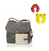 Babymel Satchel Changing Bag In Wave Elephant Grey With Changing Mat & Insulated Bottle Pocket Plus 1 Pair Of Door Stoppers