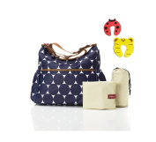 Babymel Big Slouchy Changing Bag in Jumbo Dot Navy With Changing Mat & Insulated Bottle Pocket Plus 1 Pair Of Door Stoppers