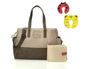 Babymel Millie Changing Bag in Fawn With Changing Mat & Insulated Bottle Pocket Plus 1 Pair Of Door Stoppers