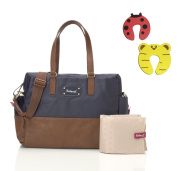Babymel Millie Changing Bag in Navy With Changing Mat & Insulated Bottle Pocket Plus 1 Pair Of Door Stoppers