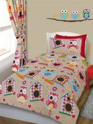 Cot Bed Printed Multi Owl Tweet Duvet Cover & Pillowcase Bedding Set
