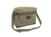 CACTUS Canvas and Distressed Oiled Leather A4 Messenger / Laptop Bag CM813_ 81 Khaki