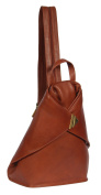 Womens BROWN leather BACKPACK rucksack hiking walking travel sports gym bag HOL259