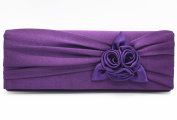 Ladies Satin Pleated Rose Evening Clutch Bag Bridal Prom Handbag Purse