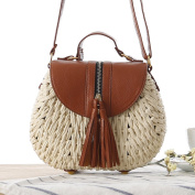 FAIRYSAN Women Summer Straw Rattan Cross Body Bag Woven Shoulder Bag Shopping Beach Bag Handbag with Pendents