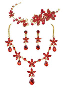 Chinese Style Bridal Headband Necklace Earrings Wedding Set Red