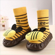 Bebedou yellow bee cartoon socks 3 to 9 months Baby Toddlers Kids Comfy Indoor Slippers Shoes Socks Moccasins NON SKID Indoor Shoes Socks Durable Multifunctional slip baby booties breathable toddler elastic, warm and thick socks with soft leather sole ..