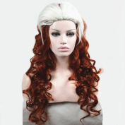 Strong Newest X-Men - Rogue Brown-Red /White Mxed Long Curly cosplay Wig
