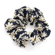 Navy and beige colour flower print elasticated hair scrunchie.