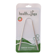 HealthAndYoga(TM) Surgical Grade Stainless Steel Tongue Cleaner Scraper   Bacteria Inhibiting, Non-synthetic Grip   Sterilizable