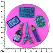 France Theme Francais French Eiffel Tower Baguette Champagne Silicone Mould Mould for Cake Decorating Cake Cupcake Toppers Icing Sugarcraft Tool by Fairie Blessings