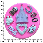 Wedding Themed Rings, Champagne Cork, Church, Lovebirds, Horseshoe Silicone Mould Mould for Cake Decorating Cake Cupcake Toppers Icing Sugarcraft Tool by Fairie Blessings