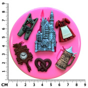 Germany Themed Oktoberfest, Lederhosen, Dirndl, Pretzel, Stein, German Village Silicone Mould Mould for Cake Decorating Cake Cupcake Toppers Icing Sugarcraft Tool by Fairie Blessings