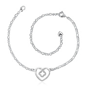 Silver Plated Love Heart Anklet for Women