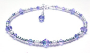 Damali Handmade Sterling Silver Beaded Crystal Anklets Simulated Birthstone Tanzanite - December