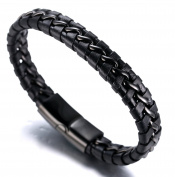 "Halukakah ""NIGHTWATCH"" Men's Genuine Leather Bracelet Titanium Magnetic Clasp Gun Black 8.46""/21.5cm with FREE Giftbox"