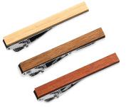 3 Pc Wood Tie Clip Set, 5.4 CM, Macaranduba, Bamboo, Palo Santo in Gift Box