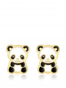 Carissima Gold 9ct Yellow Gold Enamel Panda Stud Earrings