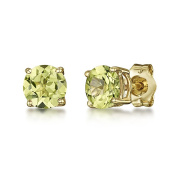 9ct Yellow Gold Earring Peridot Round Claw Set Stud Earrings 5mm