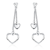 Edmond Earring Women & Girls Jewellery Silver 925 PLATED Earring Perfect Fashion Gift for any Occasion Love Gift with Heart Drop Style