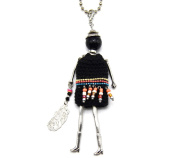 SP610 Sautoir Necklace Articulated Woman Doll Pendant and Metal Chain - Fashion Jewellery